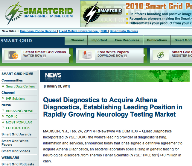 Quest Diagnostics to Acquire Athena Diagnostics